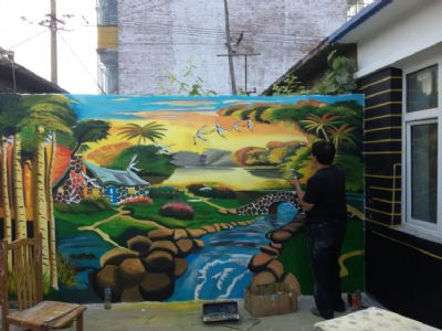 幼儿园墙体彩绘一般用什么材料