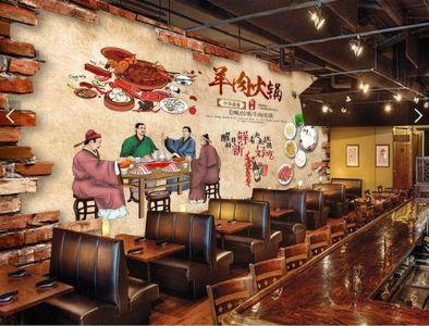 中式饭店墙绘图片大全